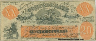 1861 Confederate Counterfeit $20 Note