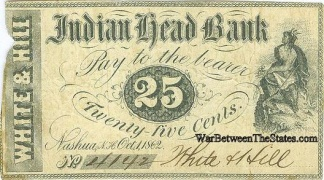 1862 Indian Head Bank, Nashua, N.h. 25 Cents Note