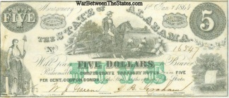 1864 State Of Alabama $5 Note