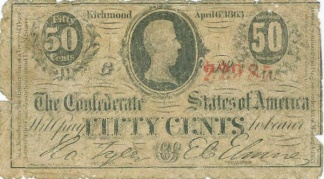 1863 Confederate 50 Cents Note