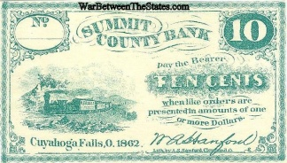1862 Summit County Bank, Ohio 10 Cents Note