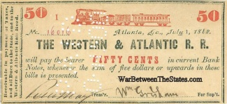 1862 Western & Atlantic Railroad 50 Cents Note