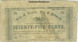 1862 City Of Richmond, Virginia 75 Cents Note