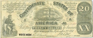 1861 Confederate Era Counterfeit $20 Note (Image1)