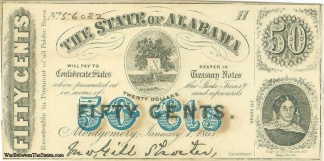1863 State Of Alabama 50 Cents Note