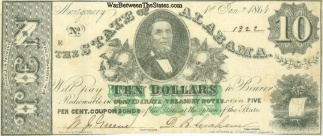 1864 State Of Alabama $10 Note