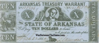 1862 State Of Arkansas $10 Note