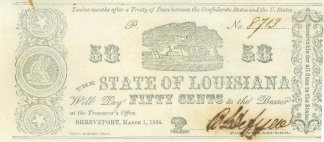 1864 State Of Louisiana 50 Cents Note