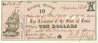 1862 State Of Texas $10 Treasury Warrant