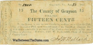 1862 Grayson County, Virginia 15 Cents Note