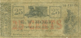 1862 New Orleans 25 Cents Merchant Script, G.w. Holt