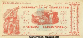 1861 Corporation Of Charleston, S.c. 10 Cents Note