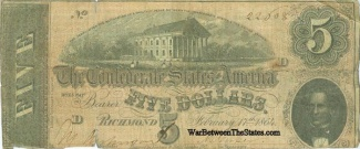 1864 Confederate $5 Note