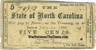 1861 State of North Carolina 5 Cents Note (Image1)