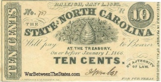 1863 State of North Carolina 10 Cents Note (Image1)