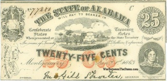 1863 State of Alabama 25 Cents Note (Image1)