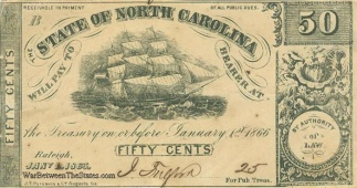 1863 State of North Carolina 50 Cents Note (Image1)