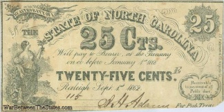 1862 State Of North Carolina 25 Cents Note
