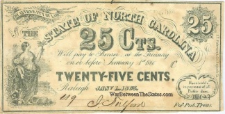 1863 State of North Carolina 25 Cents Note (Image1)