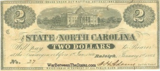 1863 State of North Carolina $2 Note (Image1)