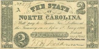 1861 State of North Carolina $2 Note (Image1)