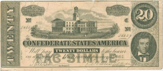 Confederate Facsimile $20 Advertising Note (Image1)