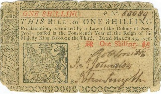 1776 Colony of New Jersey One Shilling Note (Image1)