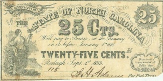 1862 State of North Carolina 25 Cents Note (Image1)