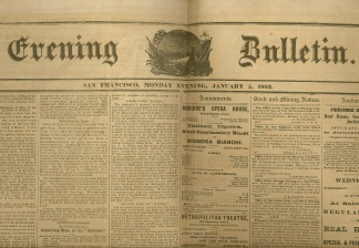 Evening Bulletin, San Francisco, January 5, 1863 (Image1)