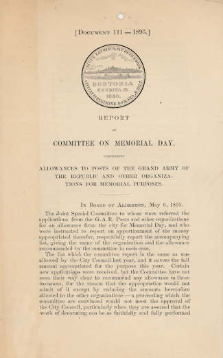 Report of Committee On Memorial Day (Image1)