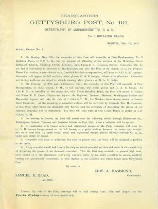 Gettysburg G.A.R. Post Orders Regarding Memorial Day (Image1)