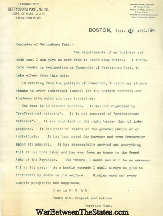 Resignation Letter Of Commander Of Gettysburg Post No. 191