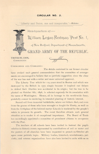 Circular, William Logan Rodman Gar Post No. 1