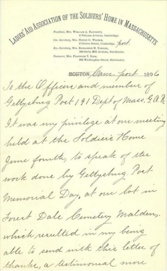 Letter From Daughter Of Civil War Veteran