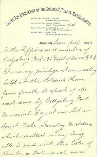Letter From Daughter of Civil War Veteran (Image1)
