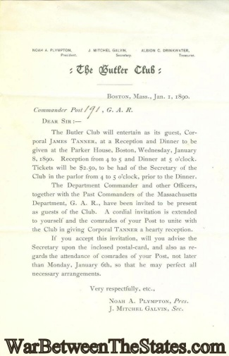1890 Invitation For Reception & Dinner