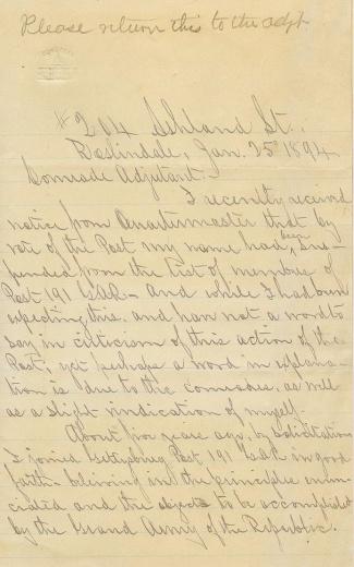 Letter From Veteran, 2nd Massachusetts Light Artillery (Image1)