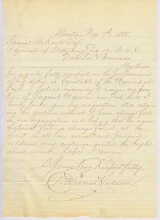 Letter to Gettysburg G.A.R. Post 191 (Image1)