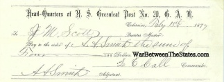 Payment Voucher G.a.r. Post No. 20, Coleraine, Mass.
