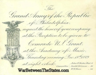 1879 G.a.r. Invitation To Reception For General U.s. Grant