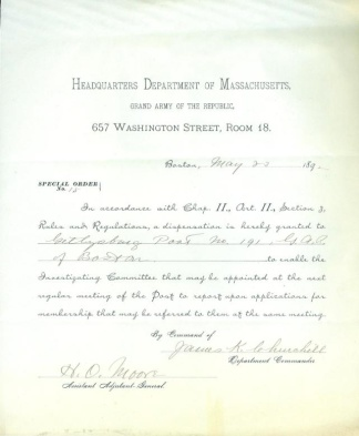 Special Orders, Gettysburg Post 191 G.A.R. (Image1)