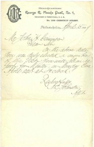 Letter, George G. Meade G.A.R. Post, Philadelphia, Pa. (Image1)