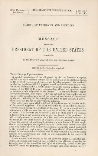 Imprint, Message From President Andrew Johnson (Image1)