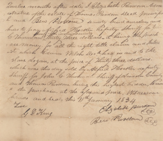 1834 Kentucky Slave Bill Of Sale