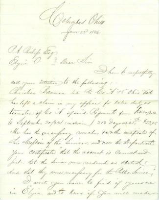 Letter Regarding Veteran of 58th Ohio Infantry (Image1)