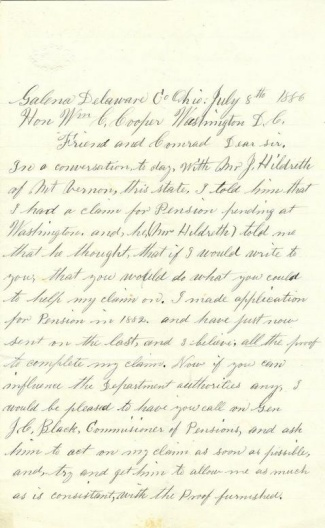 Civil War Veteran of 90th Ohio Infantry Writes to His Congressman (Image1)