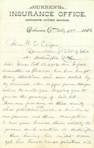 Letter From An Ohio Civil War Veteran To His U.s. Congressman