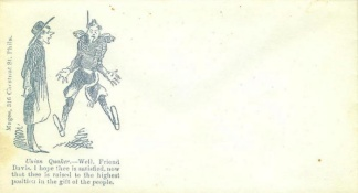 Patriotic Cover, Union Quaker to Friend Jeff Davis (Image1)