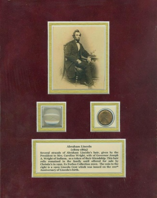 President Abraham Lincoln Hair Display with 1909 Lincoln Cent (Image1)