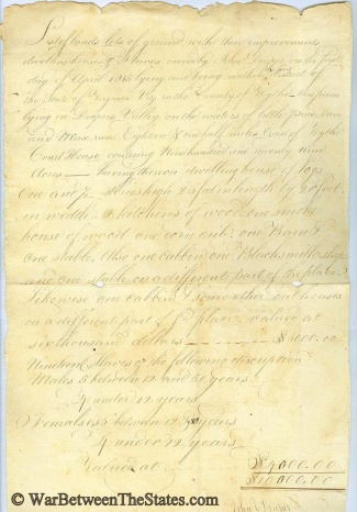 1815 Listing Of Property & Slaves, Wythe County, Virginia
